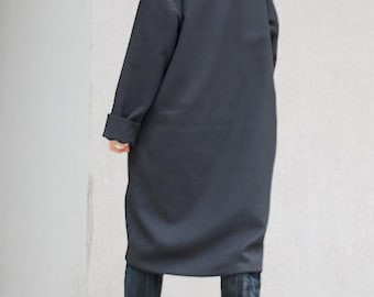Asymmetrical long women's black coat, party coat with high neck collar, oversized winter coat, warm clothing for plus size women