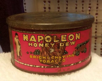 Antique Vintage Napoleon Honey Dew Bright Chewing Tobacco Tin with Its Lid