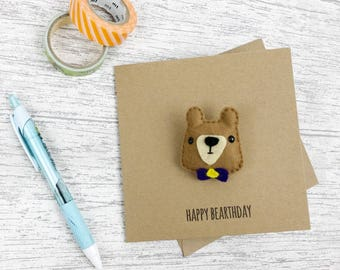 Cute birthday card, bear badge magnet birthday card, bear art, cute birthday badge, bear pin badge, felt card, funny pun card
