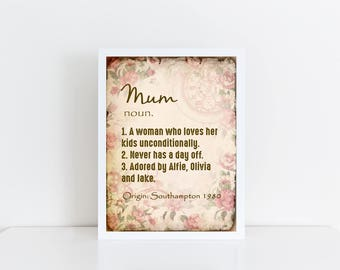 Noun poster etsy mothers day print mum noun vintage style pretty pink floral personalised poster gift stopboris Choice Image