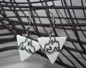 Wire Wrapped White Four Sided Dice