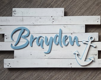 Nautical Nursery//Nursery Name Sign//Baby Name Sign//Nautical Nursery Sign//Wooden Name Sign//Nautical Baby Shower//Wooden Letters//Baby Boy