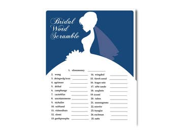 5 Dark Blue Bridal Shower Printable Games: Famous Couples,What's in your Purse Game, Word Scramble, Bridal Advice, ect