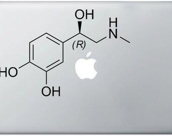 Adrenaline Compound Molecule laptop DECALS- macbook iPad computer- chemical structure -vinyl sticker