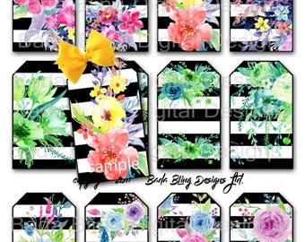 Spring Flowers, gift tags, printable collage sheets,INSTANT Downloads,watercolor flowers,Easter gift tags,Spring,birthday tags, wedding tags