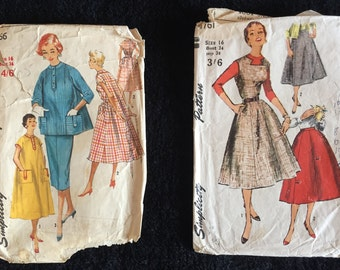 2 x 50s Simplicity  Dress Patterns Size 16 Bust 36 inches.