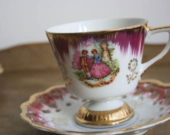 Antique cups and saucers, Versailles Fragonard France