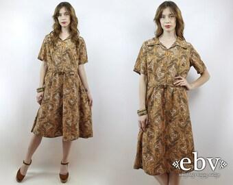 1970s Dress Hippie Dress Hippy Dress 70s Dress Party Dress XL Dress Vintage 70s Brown Paisley Dress L XL