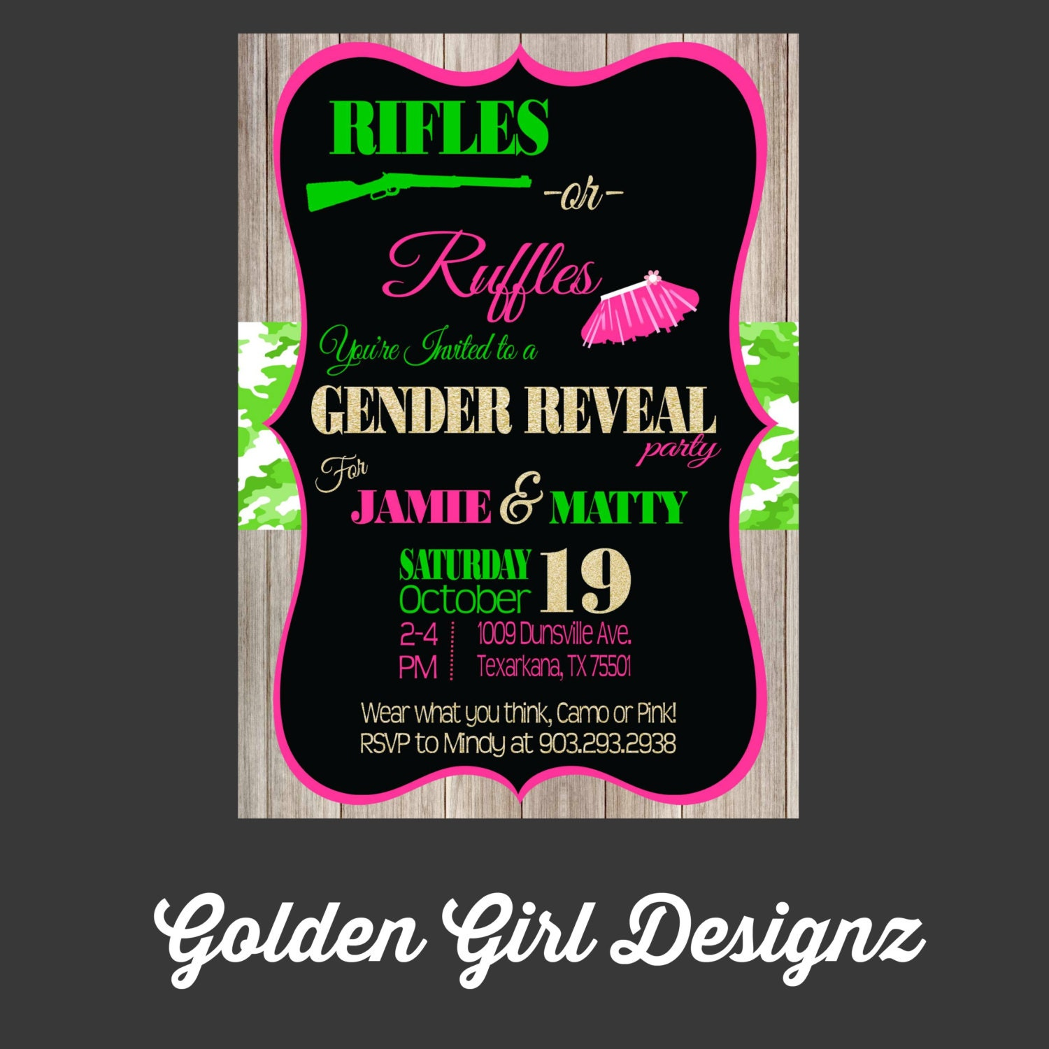 Rifles or Ruffles Gender Reveal Party Invitation camo