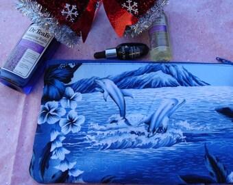 Women's Scenic Blue Dolphin Makeup Bag, Blue makeup Bag, Hawaiian cosmetic bag, Fabric makeup bag, cotton makeup bag