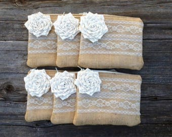 6 Bridesmaid Purses, Bridal Party Gifts, Bridal Clutch, Bridesmaid Gift Idea, Maid of Honor Gift, Burlap Bags, Cosmetic Bags, Barn Wedding