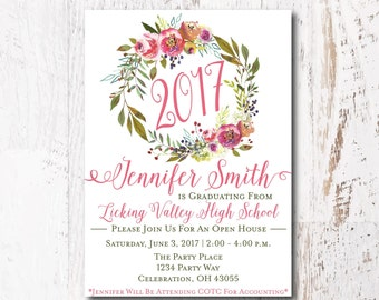 Floral Graduation Announcement - Graduation Party Invitation, College Graduation or High School Graduation