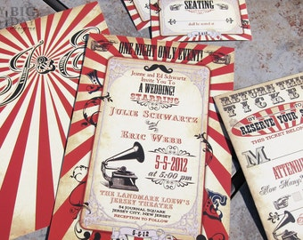 Vintage Carnival Themed Wedding Invitation,Circus themed wedding invitation,Steampunk circus,Steampunk carnival wedding invitation,printed