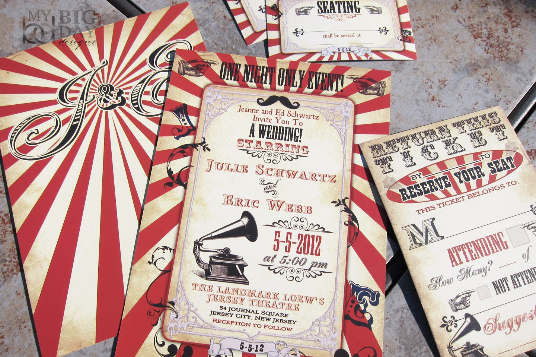 Vintage Carnival Themed Wedding Invitation. Circus themed