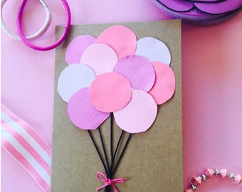 Pink and purple bunch of balloons - Birthday Card