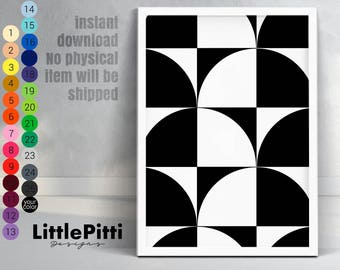 Pattern printable, black and white art, geometric art, minimalist print, geometric pattern, scandinavian design, minimalist art, download