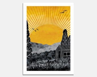 Home Art Print / wallart / yellow / grey / sunshine / cabin / garden / illustrated / landscape / nature / sky / sun / birds / meadow / art