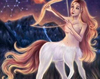 Sagittarius - Zodiac, Astrology, 8.5x11 Fine Art Print, sag art, sagittarius zodiac, constellation, pop surrealism