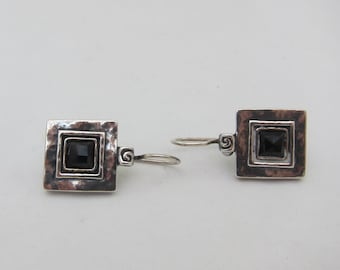Didae Shablool Israel Silver Sterling Square Faceted Black Glass Dangle