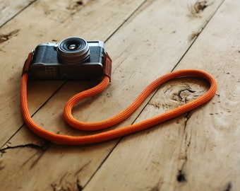 COOL Brown leather orange Climbing rope 10mm  handmade Camera neck strap