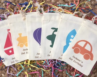Personalized Transportation Party Favor Bags Boat, Car, Rocket, Plane, Hot Air Balloon And Train- Muslin Cotton Bags Set of 10 (Item 1325A)