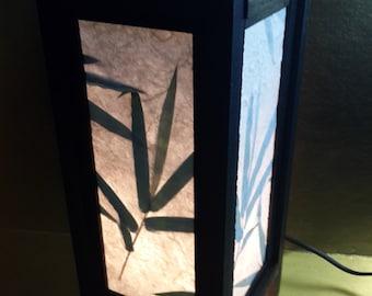 "Asian Oriental Design Bamboo Leaves Bedside Floor or Table Lamp Saa paper Black 11"" height DIY item"