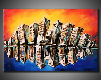 24x36 Original City Skyline Abstract Painting Acrylic Colorful Fine Art by Federico Farias