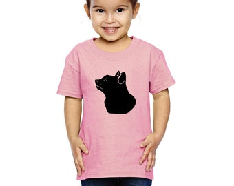 Cat Shirts For Children, Cat Shirts For Kids, Youth Cat Shirts, Black Cat Head Cat Face Profile, Toddler Tshirt Printed Cat Tshirts for kids