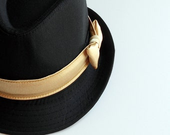 Boy/Toddler Fedora with Satin Gold Band- 2 weeks before shipping