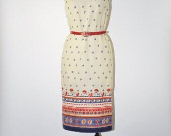70s folk print dress / 1970s ivory ikat dress / racerback straight dress / floral sleeveless dress