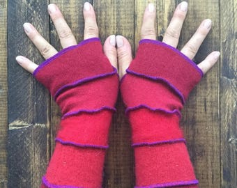 Bright Red Fingerless Gloves Made from Recycled Knit Sweaters