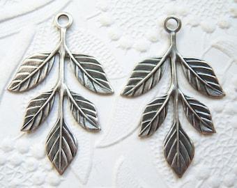 Antiqued silver Leaf sprig charm connector drop, leaf spray stamping, lot of (2)  BP134
