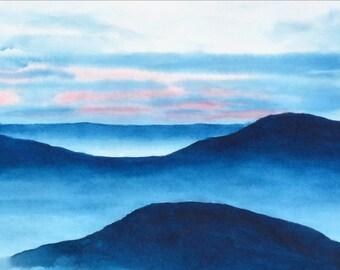 Modern Art, Blue Ridge Mountains Watercolor Landscape Print, Watercolor Painting, Blue Painting Landscape,Sunset Print,Cloud Sky, Minimalist