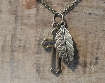 Necklace feather and faith