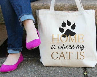 Home Is Where My Cat Is XL Canvas Tote Bag