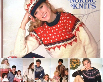 More Nordic Knits Pattern booklet Patons Beehive 452 Adult and Childrens Sweaters Pullovers Cardigans Jackets Hats Toques Fair Isle Knits