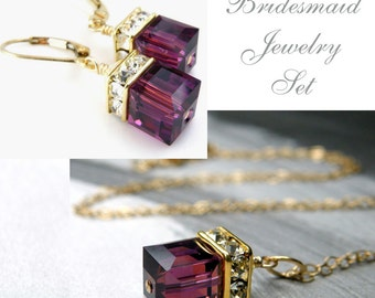 Plum Swarovski Crystal Jewelry Set, Amethyst Cube Necklace and Earrings, Gold Filled, Bridesmaid Gift, Bridal Party Favor, February Birthday