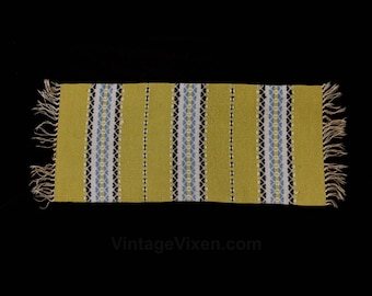 Handwoven Wool Runner - 1960s South American Textile - 60s Wall Hanging - Expertly Hand Woven - 1 x 2 Ft - Saffron Yellow Brown Blue - 50681