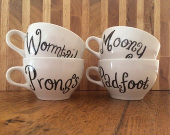 Set of Four Marauders Tea Cups ~ Harry Potter Inspired ~ Moony Wormtail Padfoot & Prongs