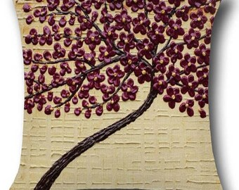 Purple flower tree pillow cover
