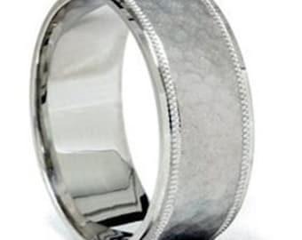 Mens 8MM Hammered 950 Platinum Flat Comfort Fit Wedding Band Ring Size (7-12)