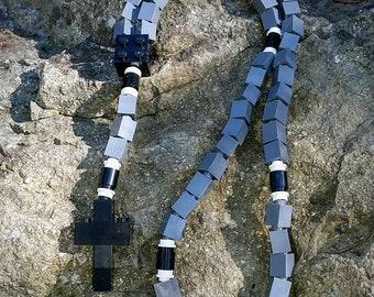 The Original MementoMoose Rosary Made with Lego Bricks - Gray and Black Catholic Rosary