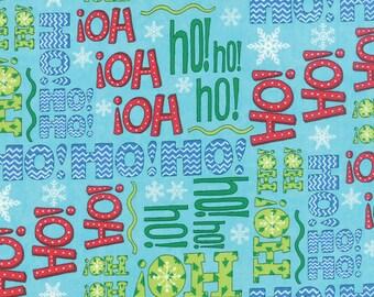Moda HO HO HO Deb Strain 1/2 Yard Icy Aqua Blue Ho Ho Words Christmas 19701-14