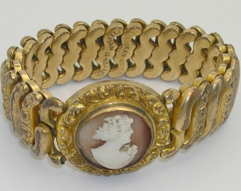 Vintage American Queen Shell Cameo Expandable Bracelet Pittman & Keeler 1907 Patent Date
