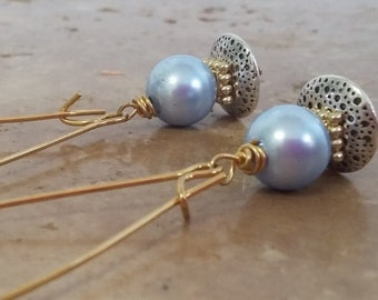 Dainty Chic Powder Blue Pearl Drop Earrings