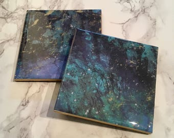 Two Galaxy Gold and Navy Marble Coasters, Drink Coasters, Coffee Bar Accessories, Coffee Table Decor, Minimalist Decor, Office Decor