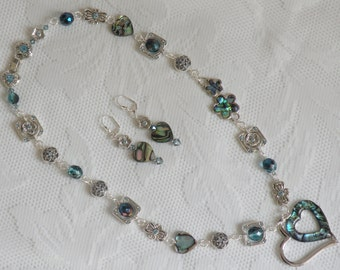 Paua Hearts and Flowers Necklace and Earring Set