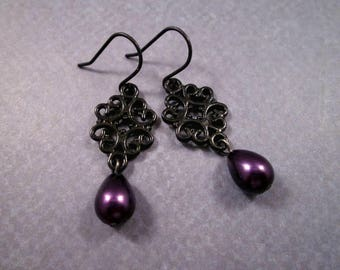 Pearl Earrings, Purple Glass Pearls and Black Filigree, Gunmetal Silver Dangle Earrings, FREE Shipping U.S.