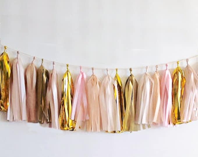 Garland tassel in metallic gold, light pink, white, antique gold, and ivory, Tissue paper tassel, Birthday, Wedding Decor, Baby shower ideas
