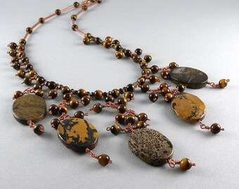 Leopard Skin Stone, Tiger Eye Stone, and Copper Gemstone and Pearl Statement Necklace with Free USA Shipping